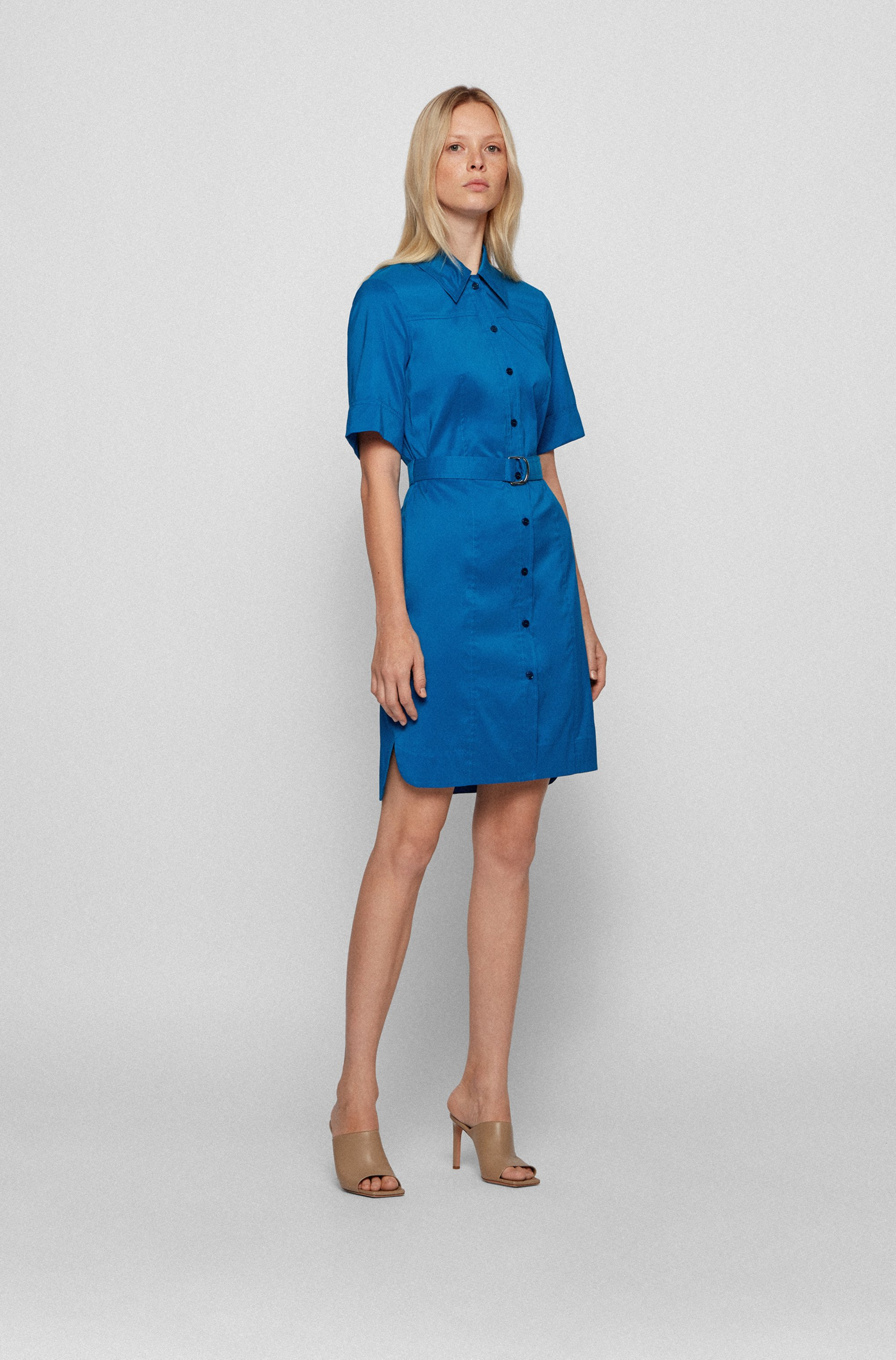 Belted shirt dress in stretch poplin