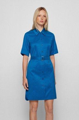 Belted shirt dress in stretch poplin, Blue