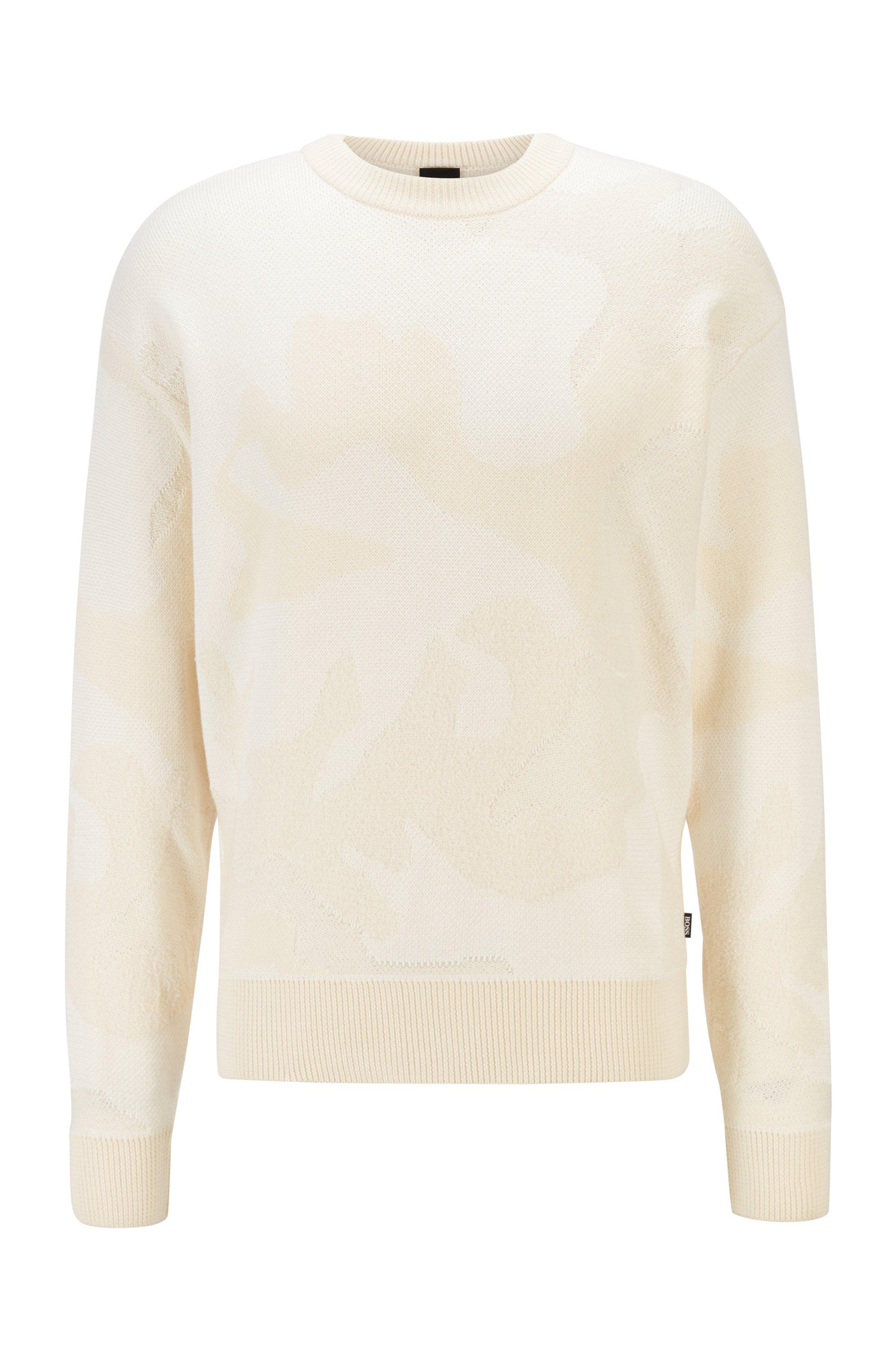 Jacquard-Pullover aus Baumwoll-Mix mit Camouflage-Muster, Weiß