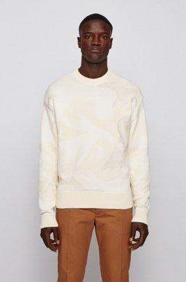 Pull en maille jacquard de coton mélangé à motif camouflage, Blanc