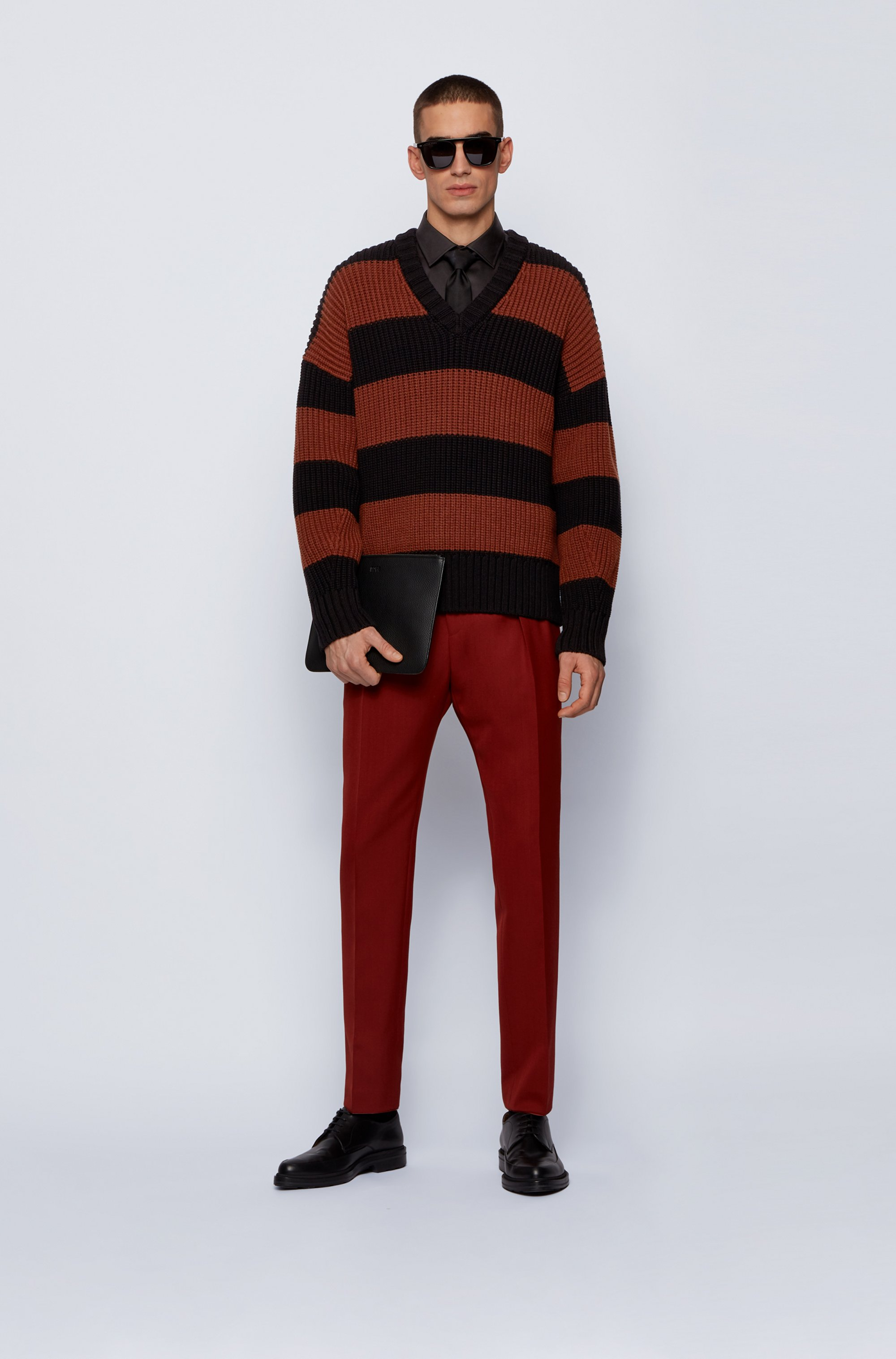 Rugby-stripe V-neck sweater in a cotton blend