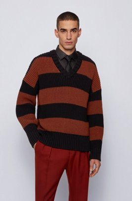 Rugby-stripe V-neck sweater in a cotton blend, Brown Patterned