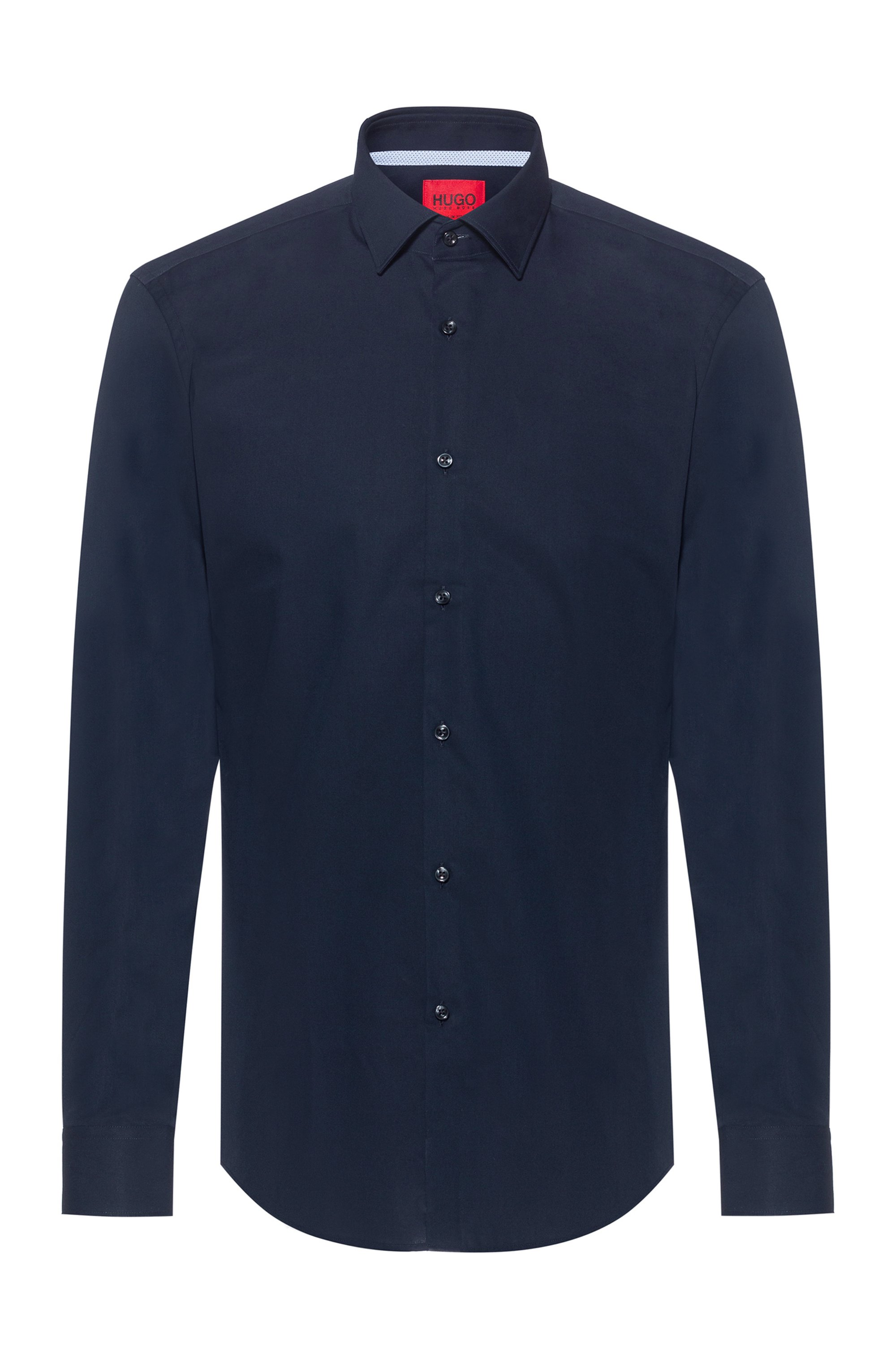 Easy-iron slim-fit shirt in signature cotton poplin, Dark Blue