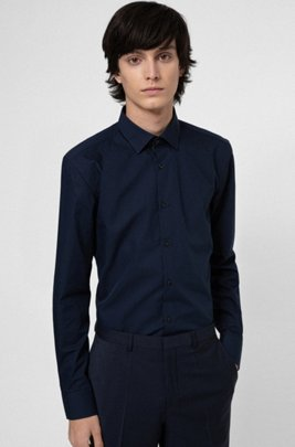 Easy-iron slim-fit shirt in signature cotton poplin, Dark Blue