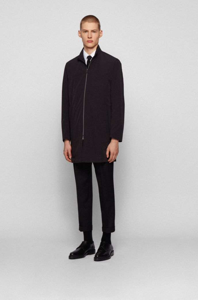 Water-repellent packable coat with stand collar