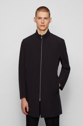 Water-repellent packable coat with stand collar, Black