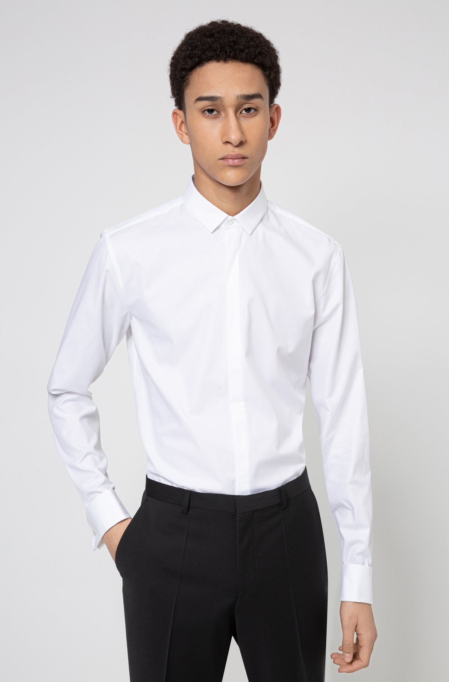 Extra-slim-fit evening shirt in structured cotton, White