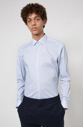 Micro-print slim-fit shirt in a stretch-cotton blend, Light Blue