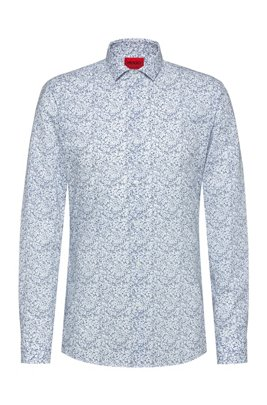 Cotton extra-slim-fit shirt with Japanese floral print, Blue Patterned