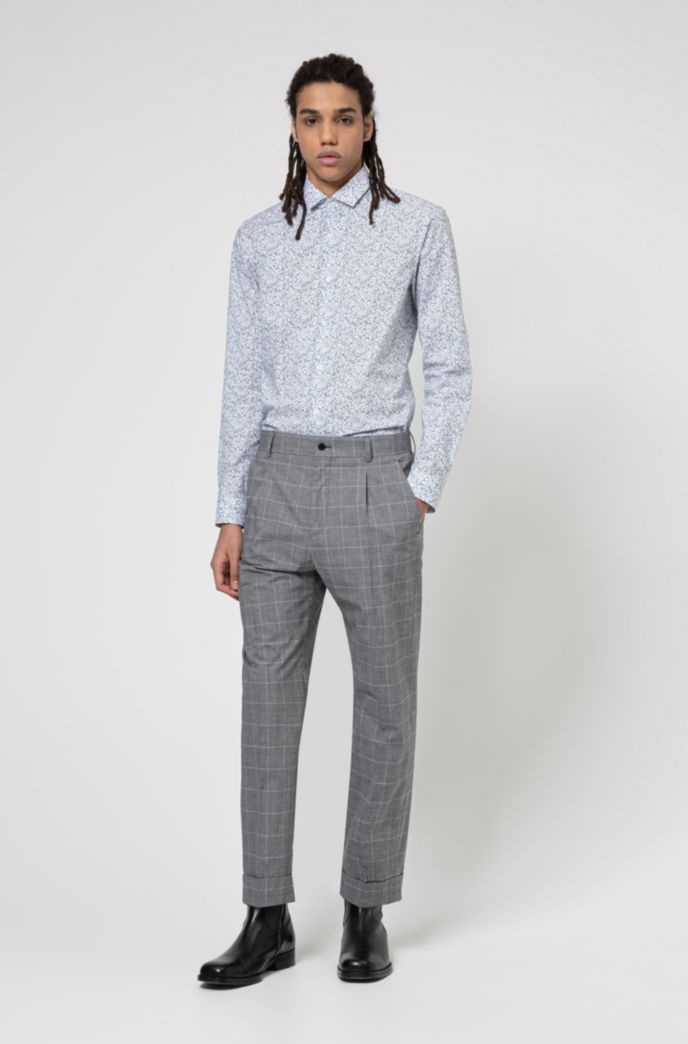 Cotton extra-slim-fit shirt with Japanese floral print