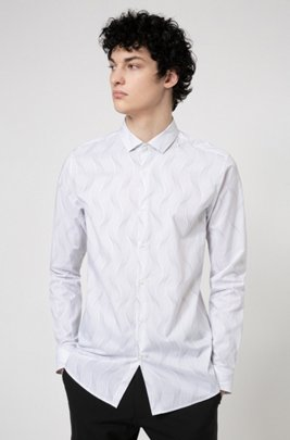 Cotton extra-slim-fit shirt with Japanese floral print, White Patterned