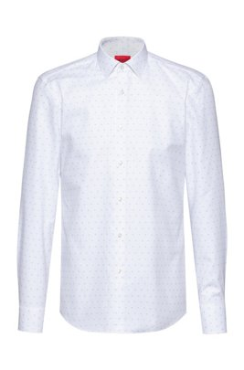 Slim-fit shirt in structured cotton piqué, White Patterned