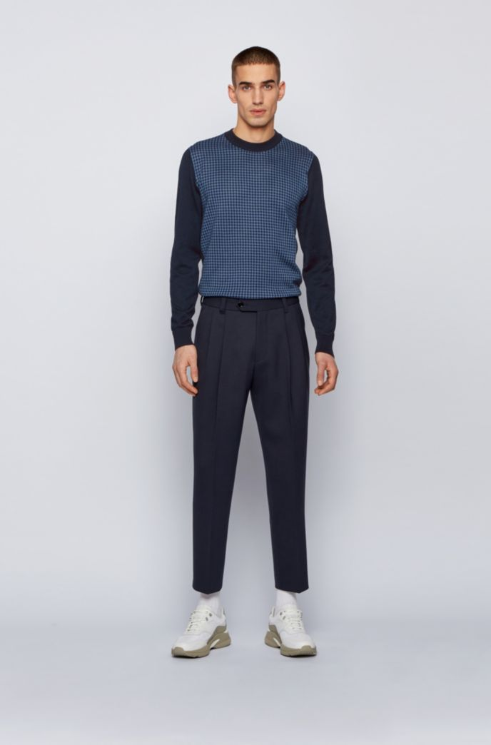 Crew-neck sweater in mercerised cotton with Vichy check