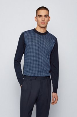 Crew-neck sweater in mercerised cotton with Vichy check, Blue Patterned