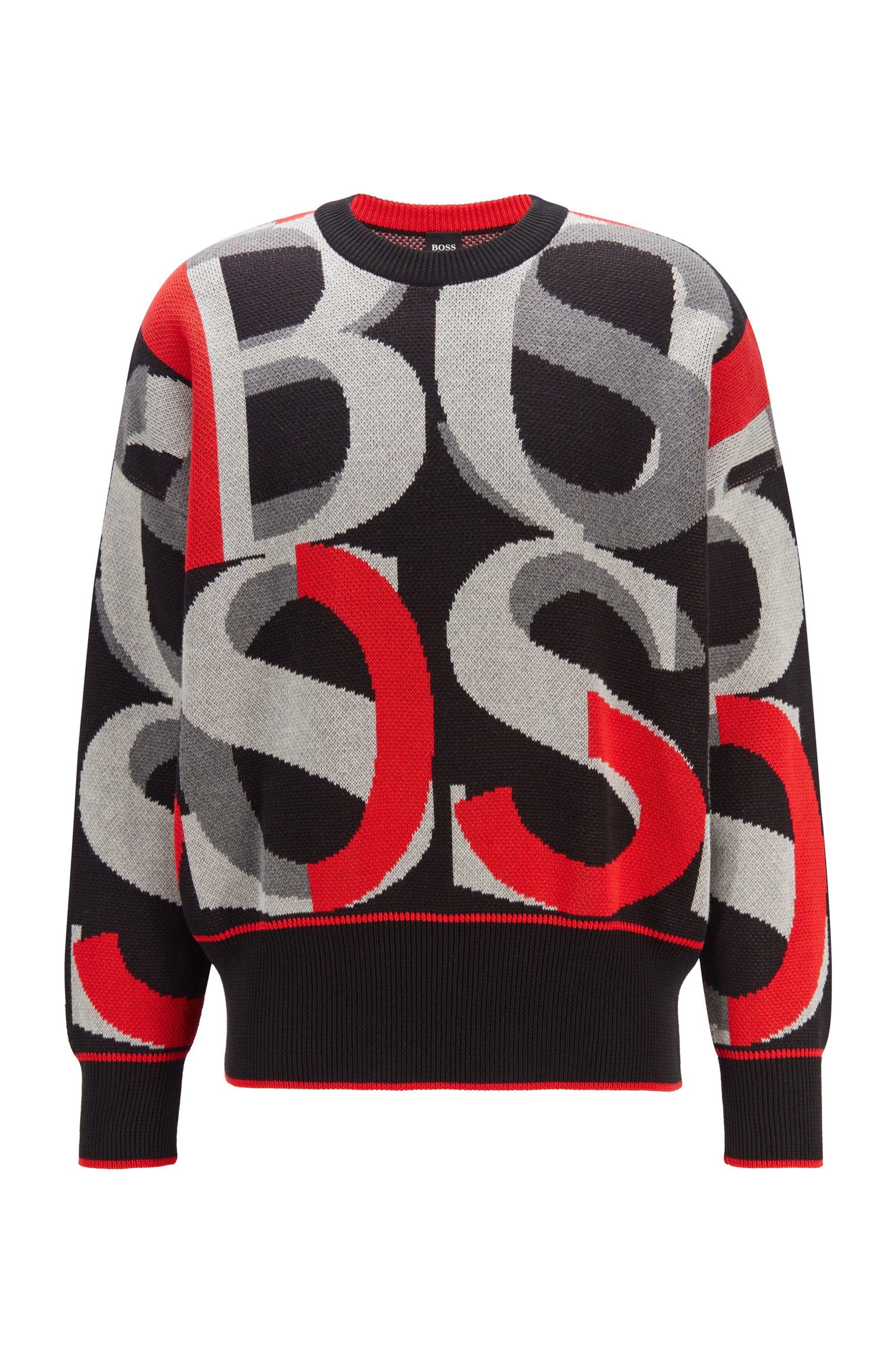 Cotton sweater with large-scale jacquard-woven logos, Black Patterned