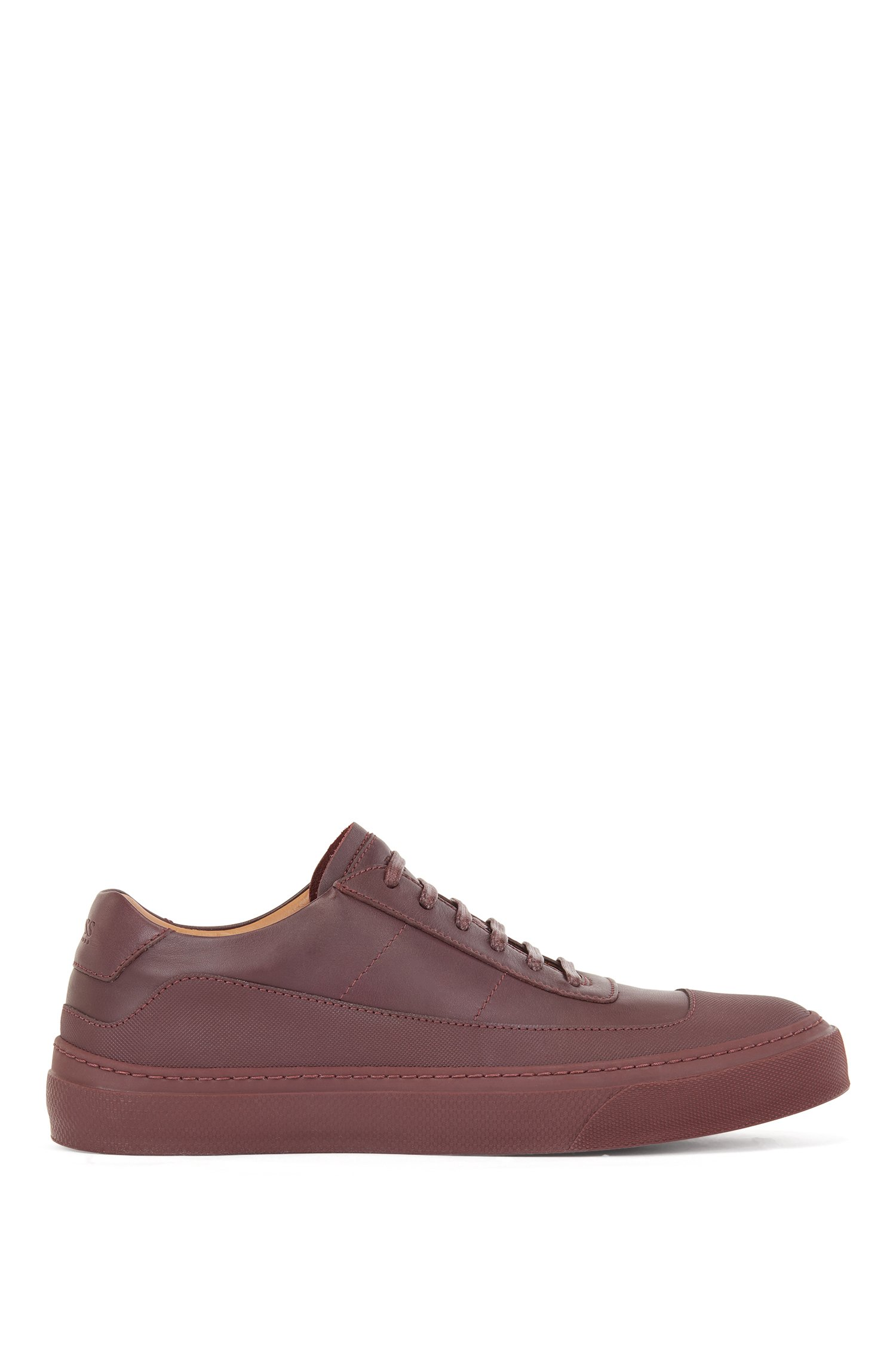 Italian-made low-top trainers in rubberised leather, Brown