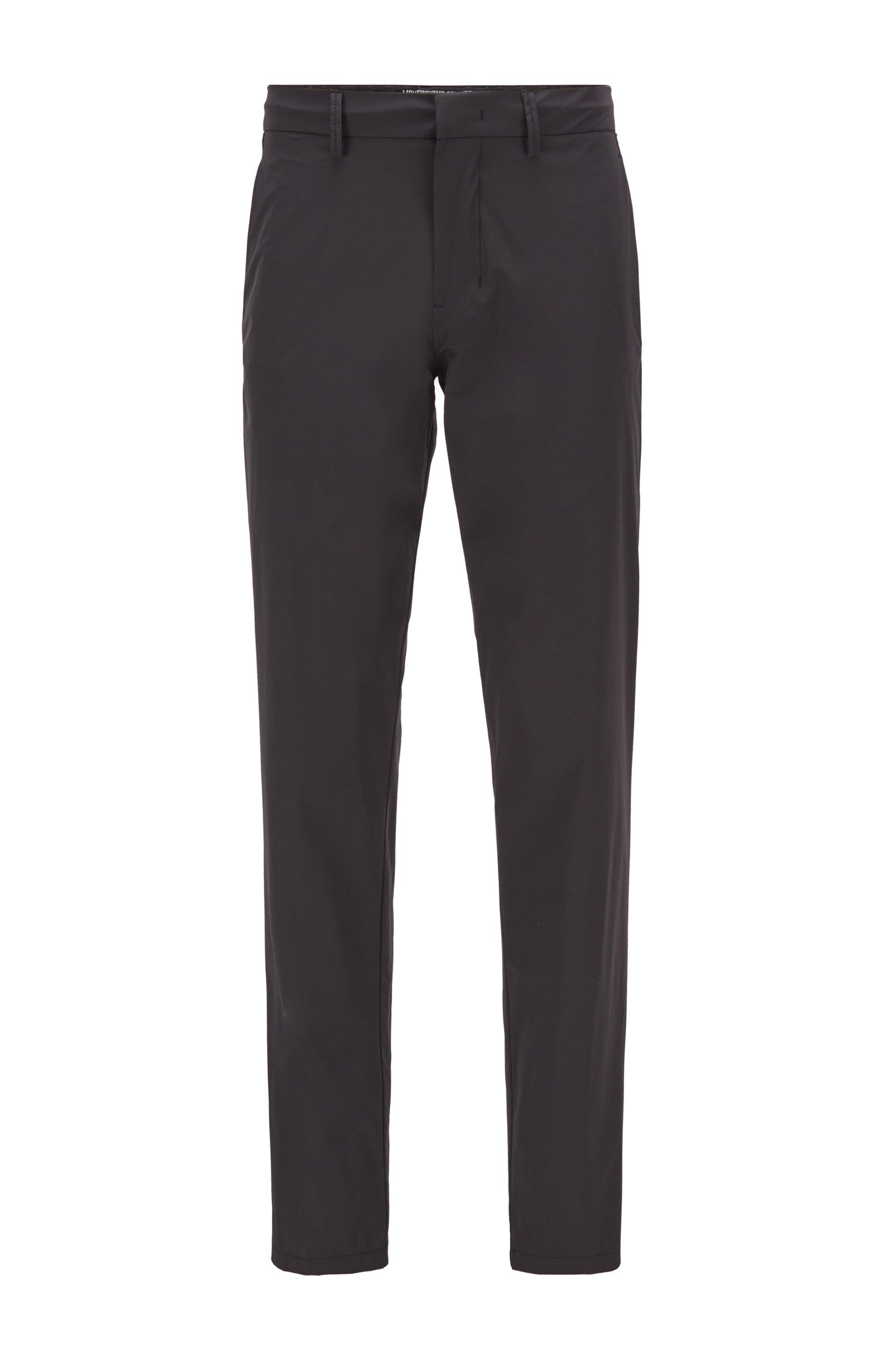 Slim-Fit Hose aus wasserabweisendem Stretch-Gewebe, Schwarz