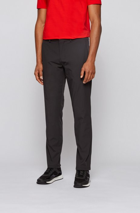 Slim-fit trousers in water-repellent stretch monofibre, Black