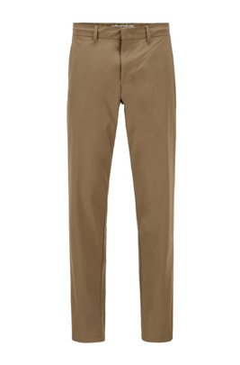 Slim-fit trousers in water-repellent stretch monofibre, Beige