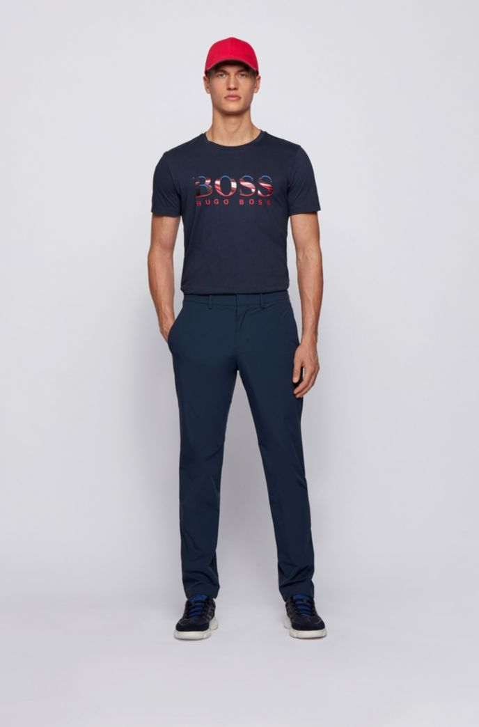 Slim-fit trousers in water-repellent stretch monofibre