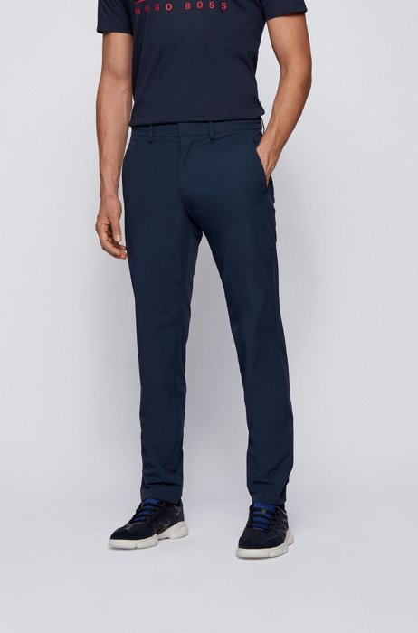 Slim-fit trousers in water-repellent stretch monofibre, Dark Blue