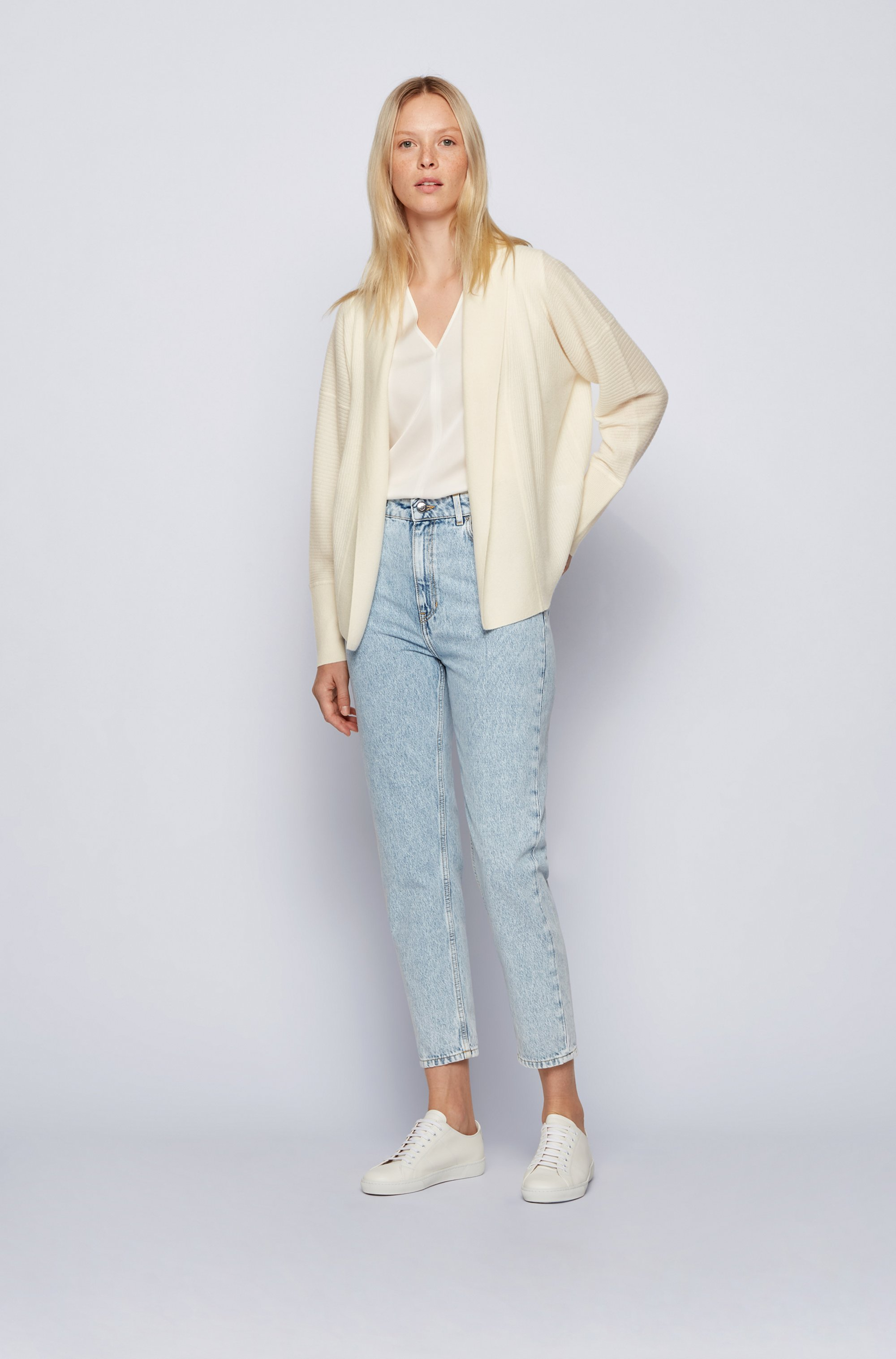 Oversized-fit ribbed cardigan in pure cashmere