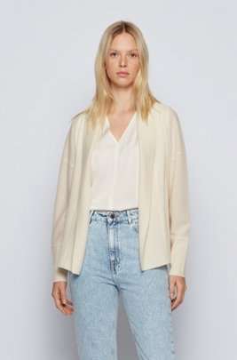 Oversized-fit ribbed cardigan in pure cashmere, White