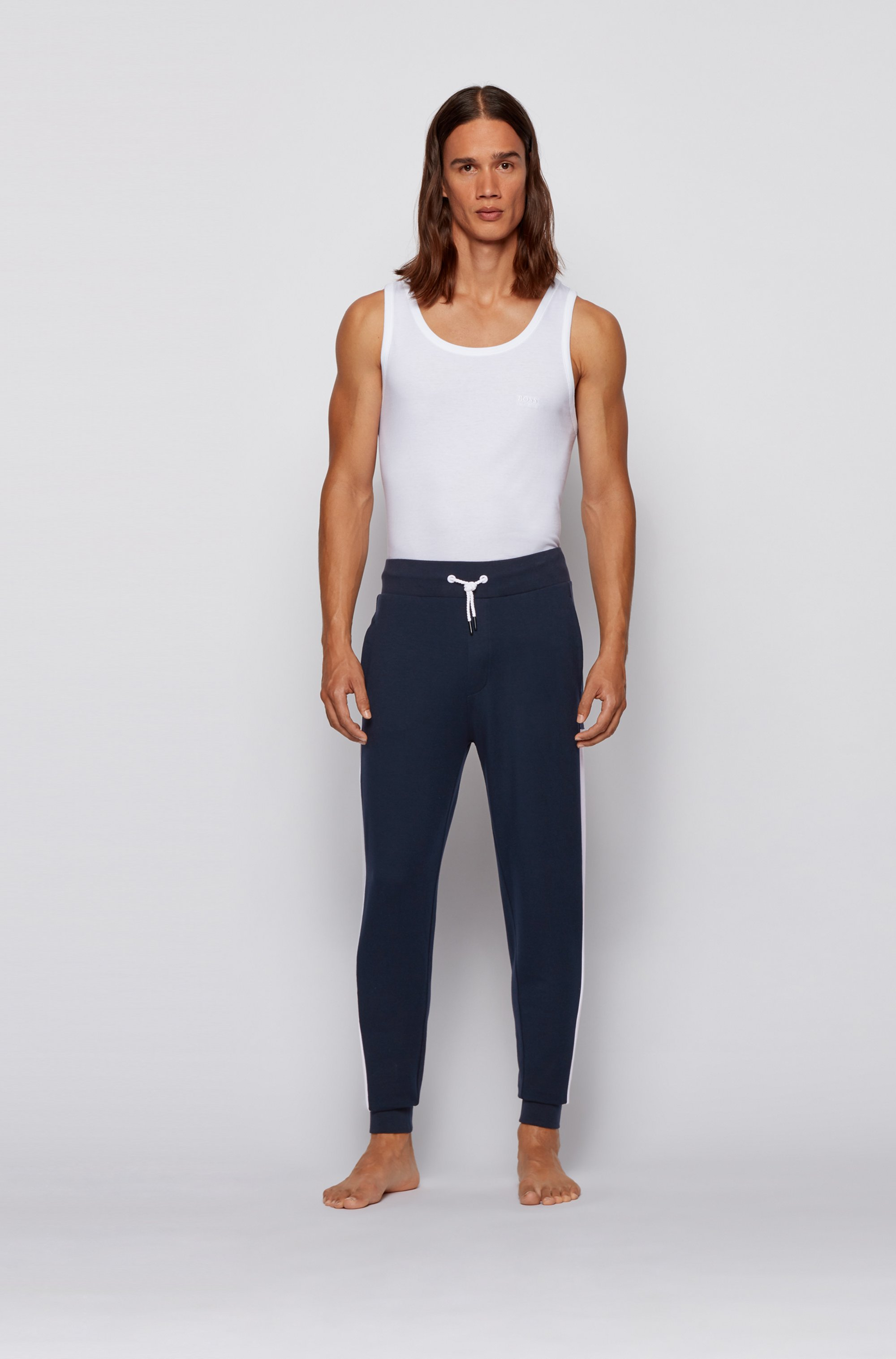 French-terry tracksuit bottoms with side stripes