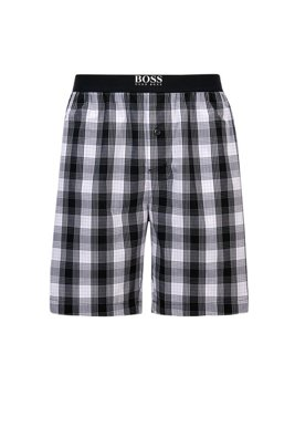 Button-fly pyjama shorts in checked cotton poplin, Black