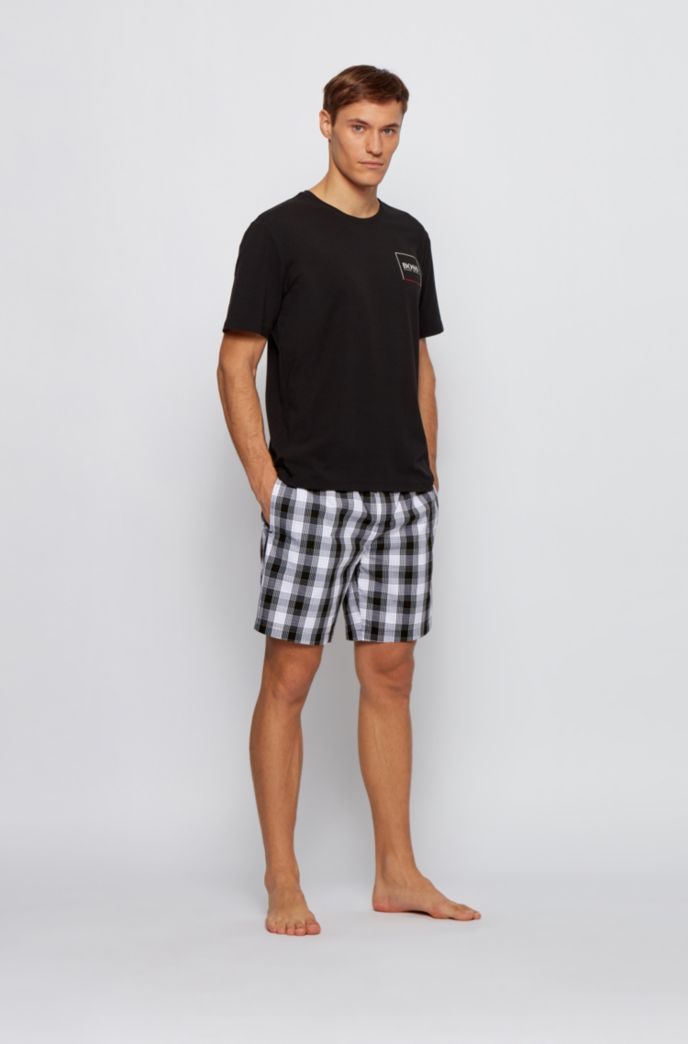 Button-fly pyjama shorts in checked cotton poplin