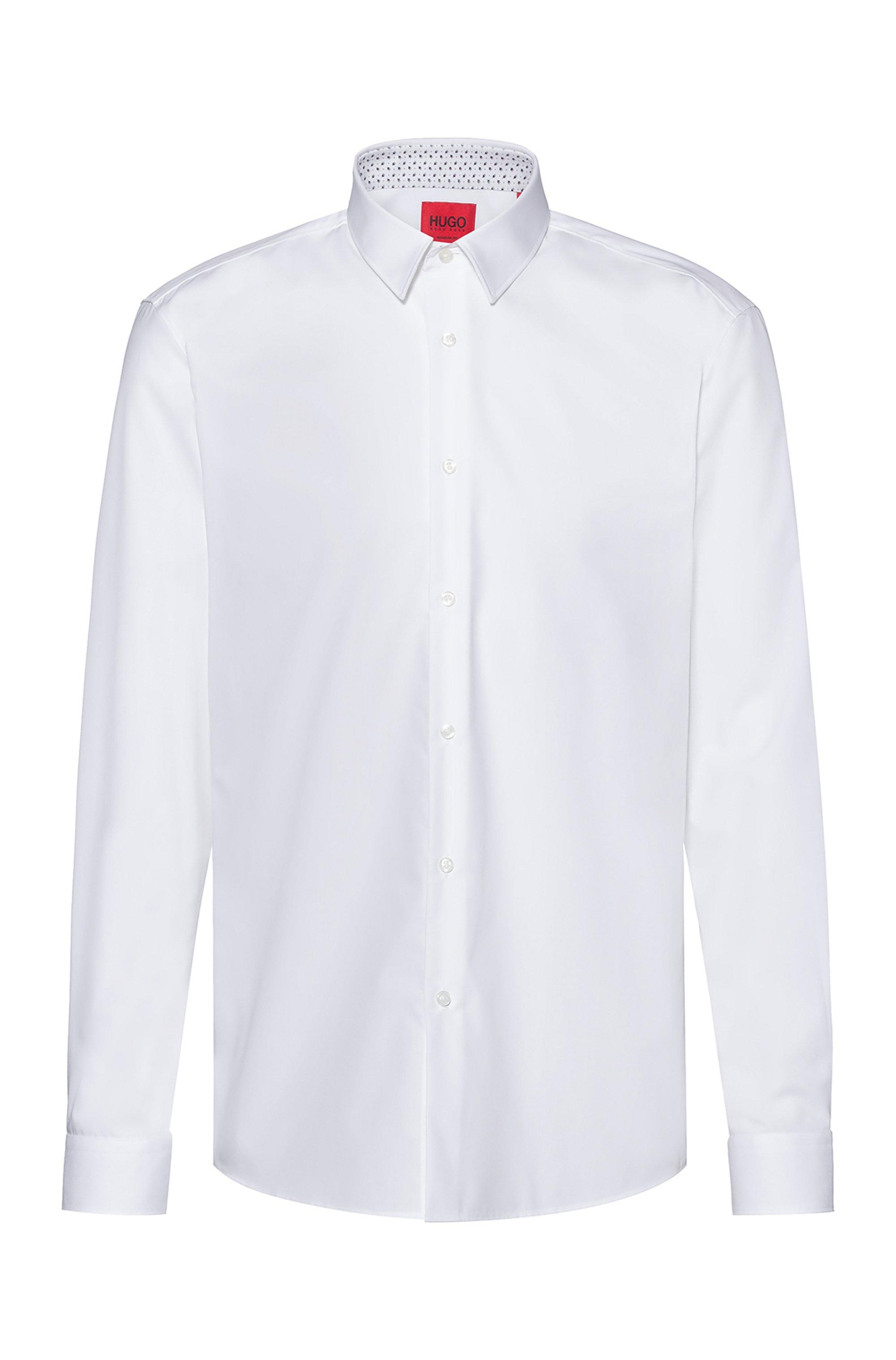 Easy-iron regular-fit shirt in signature cotton poplin, White