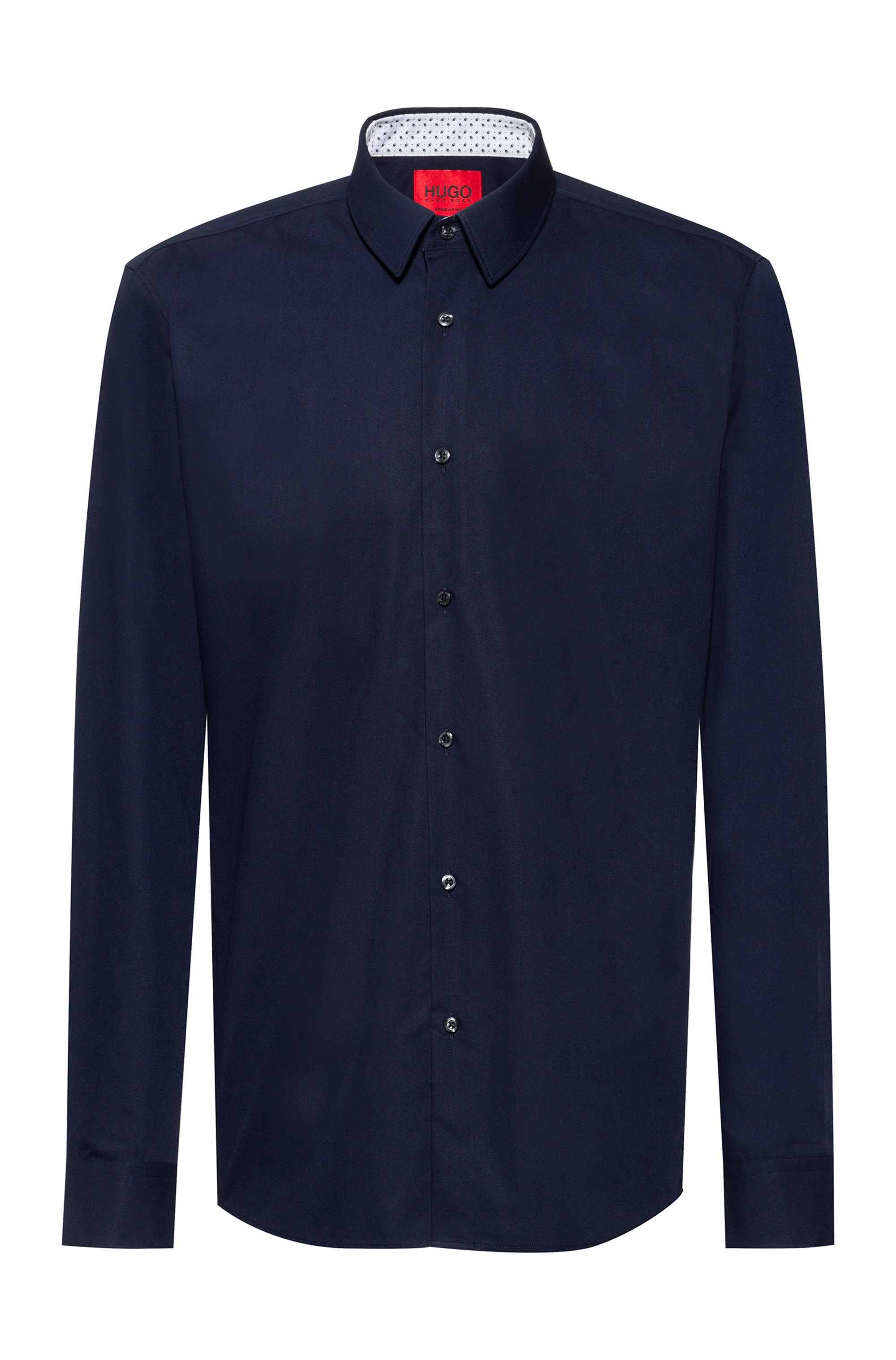 Easy-iron regular-fit shirt in signature cotton poplin, Dark Blue
