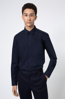 Easy-iron regular-fit shirt in signature cotton poplin, Dark Blue