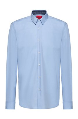 Easy-iron regular-fit shirt in signature cotton poplin, Light Blue