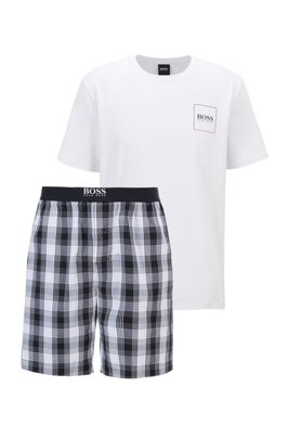 Logo-print pyjama set with checked shorts, Black