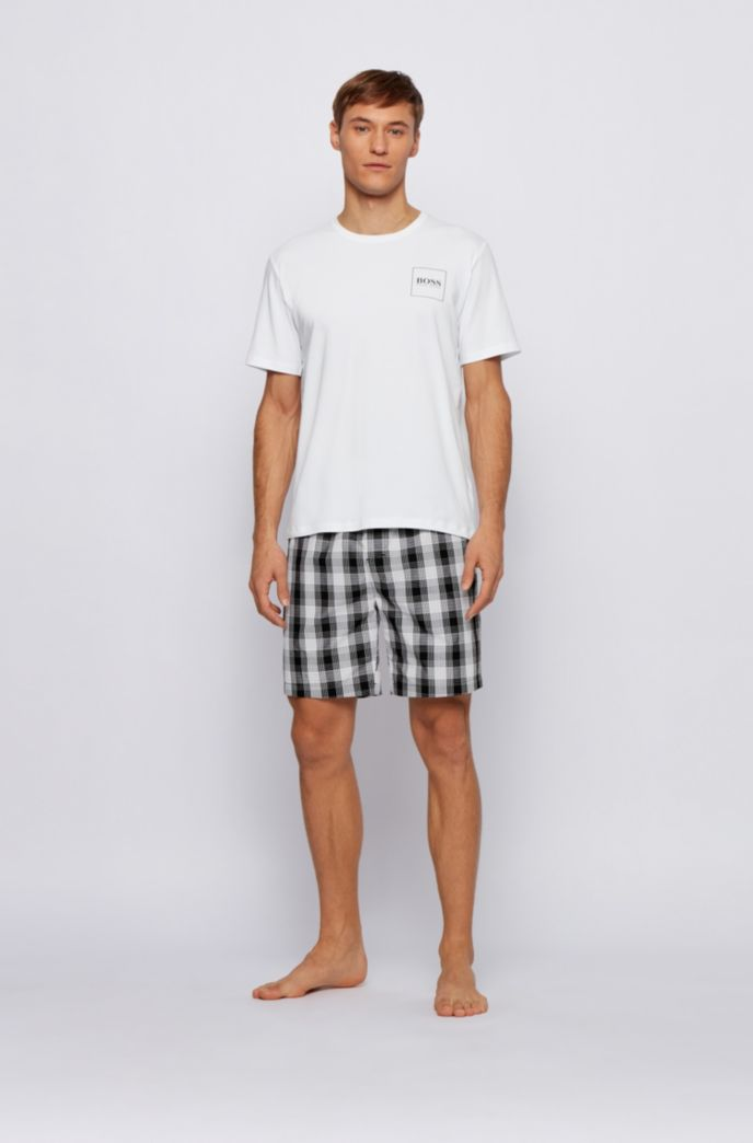 Logo-print pyjama set with checked shorts