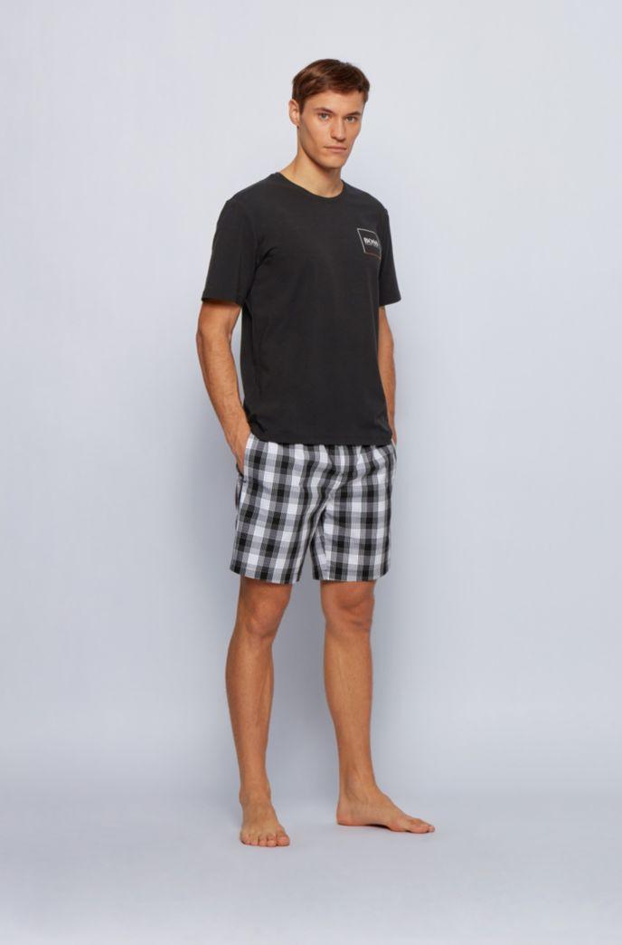 Crew-neck pyjama T-shirt with placement logo print