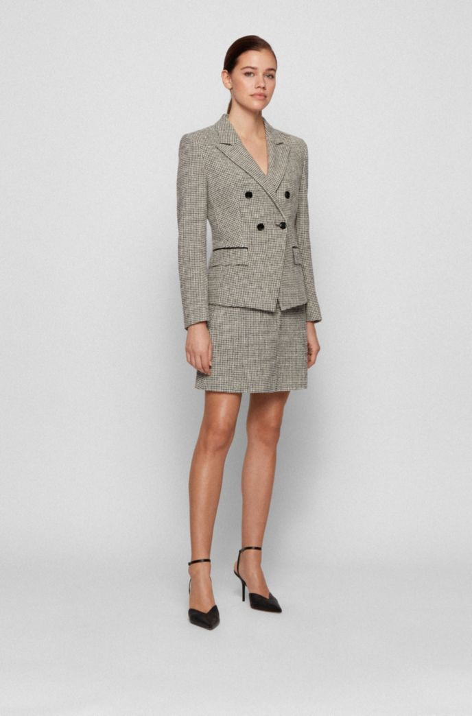 Double-breasted slim-fit jacket in stretch tweed