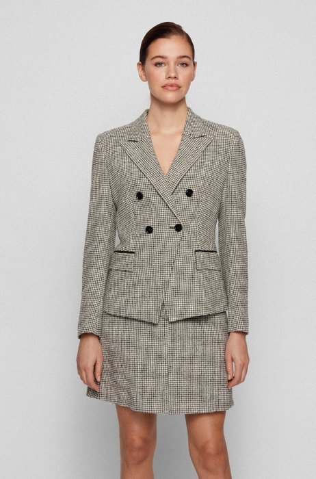 Double-breasted slim-fit jacket in stretch tweed, Patterned