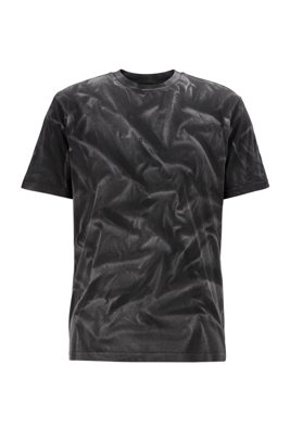 Regular-fit T-shirt in pure cotton with bleach spray, Grey Patterned
