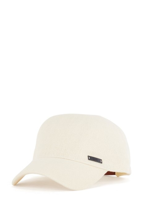 Gorra de punto de algodón con correa de piel ajustable, Blanco
