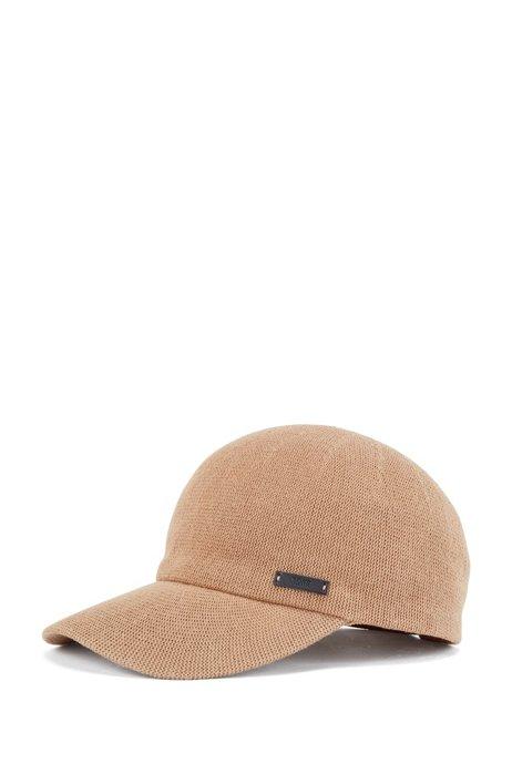 Gorra de punto de algodón con correa de piel ajustable, Beige
