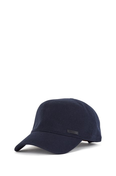 Knitted-cotton cap with adjustable leather strap, Dark Blue