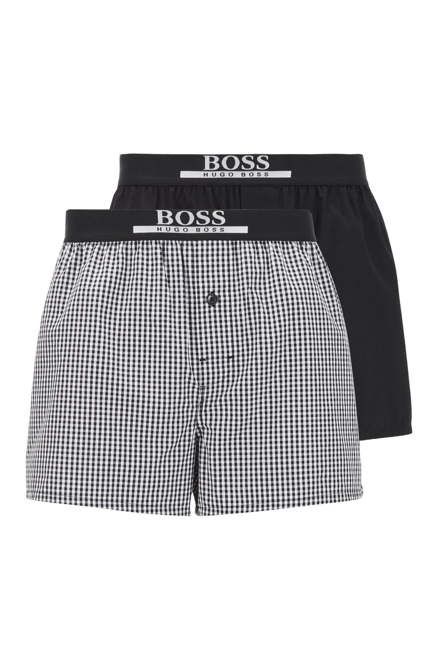 Pyjama-Shorts aus reiner Baumwolle im Zweier-Pack, Schwarz