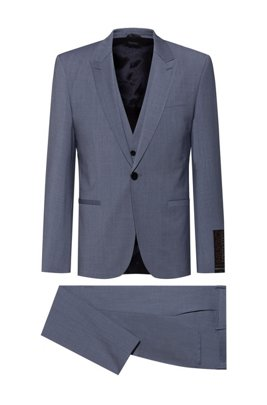 Extra-slim-fit suit in high-performance cloth, Blue