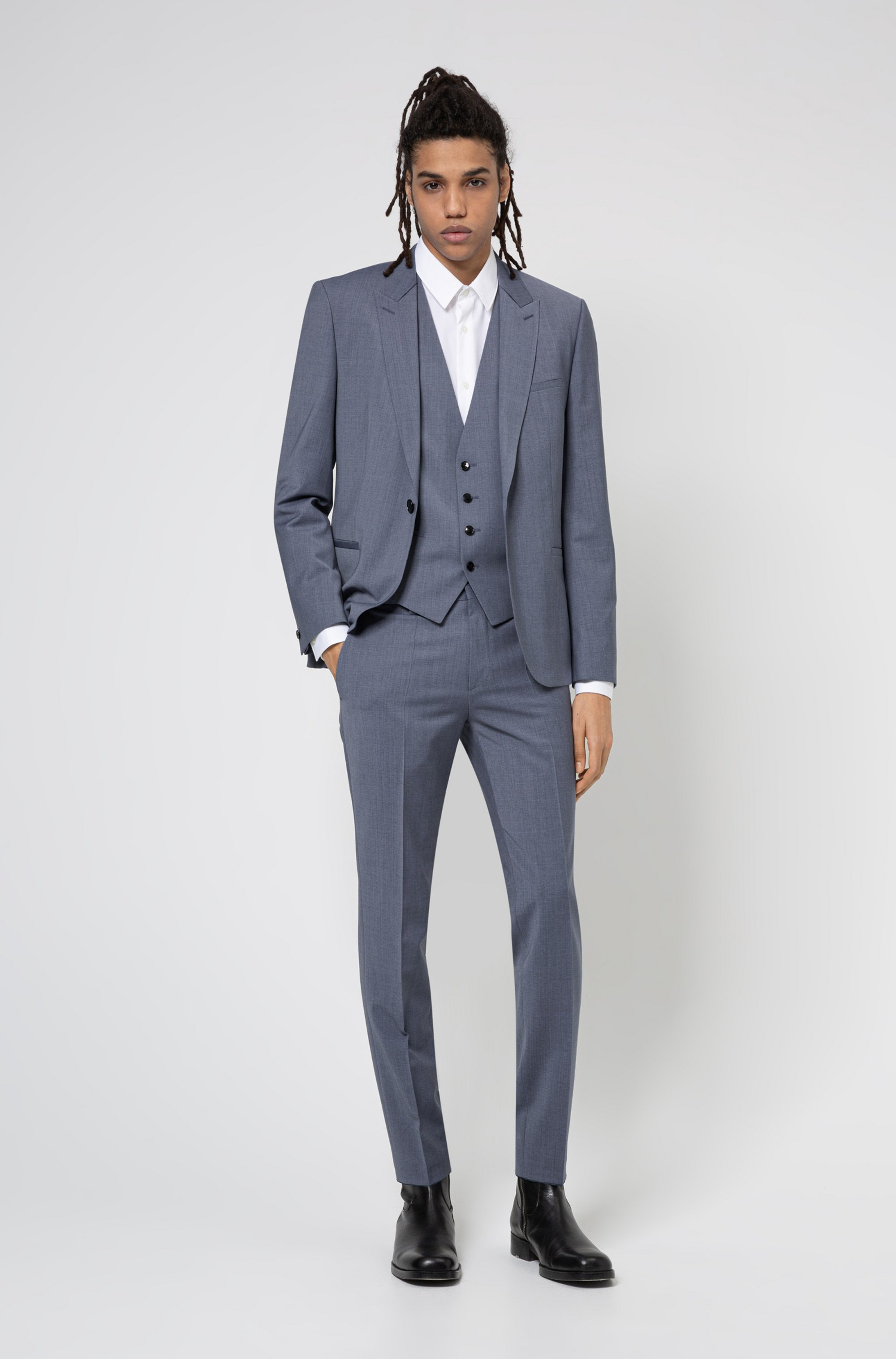 Extra-slim-fit suit in high-performance cloth