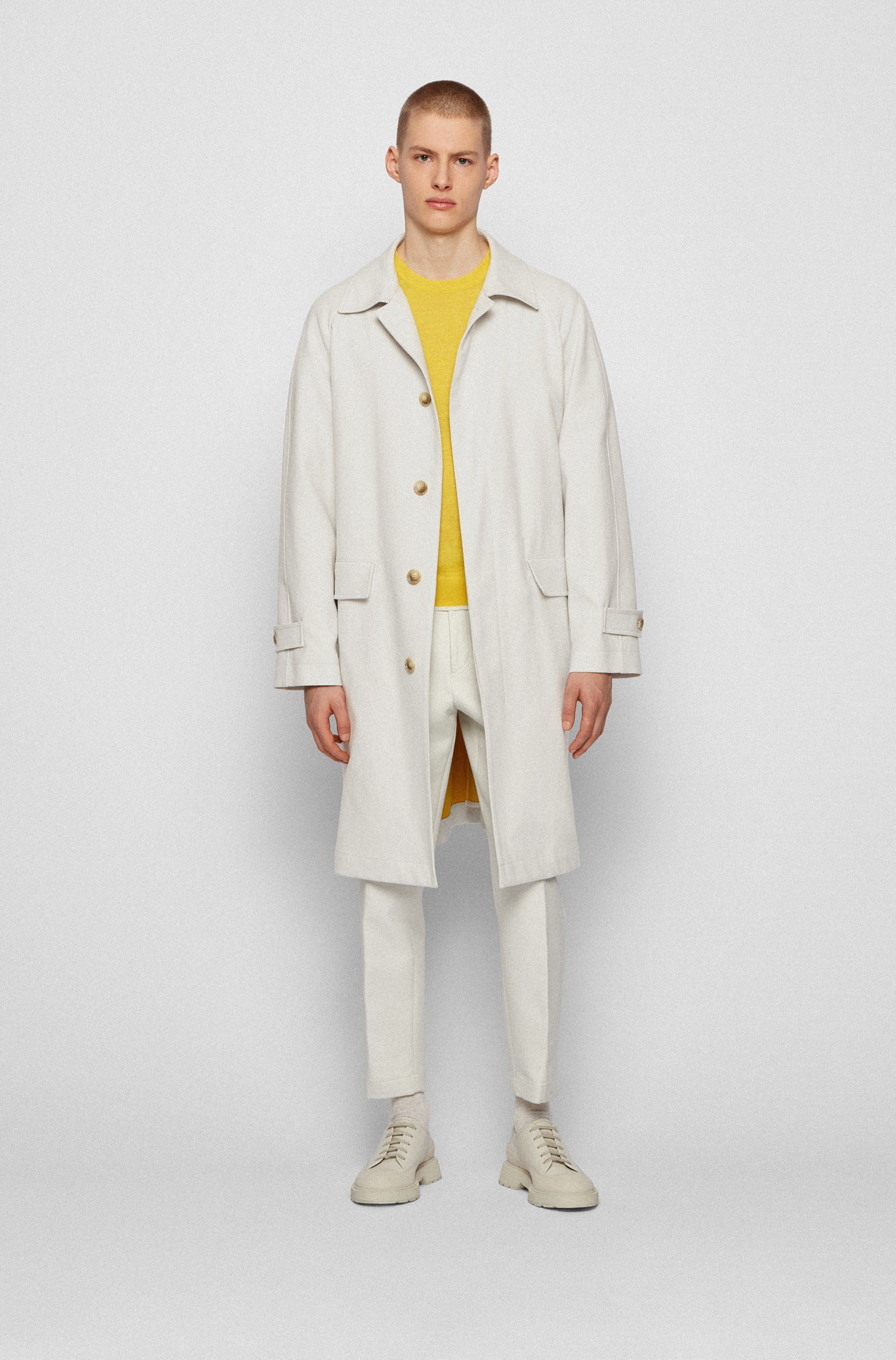 Relaxed-fit coat in bonded cotton with concealed closure