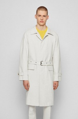 Relaxed-fit coat in bonded cotton with concealed closure, White