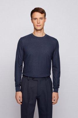 Maglione con microstruttura in pura seta, Blu scuro