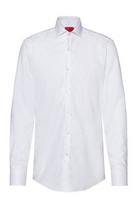 Slim-fit shirt in easy-iron Oxford cotton, White